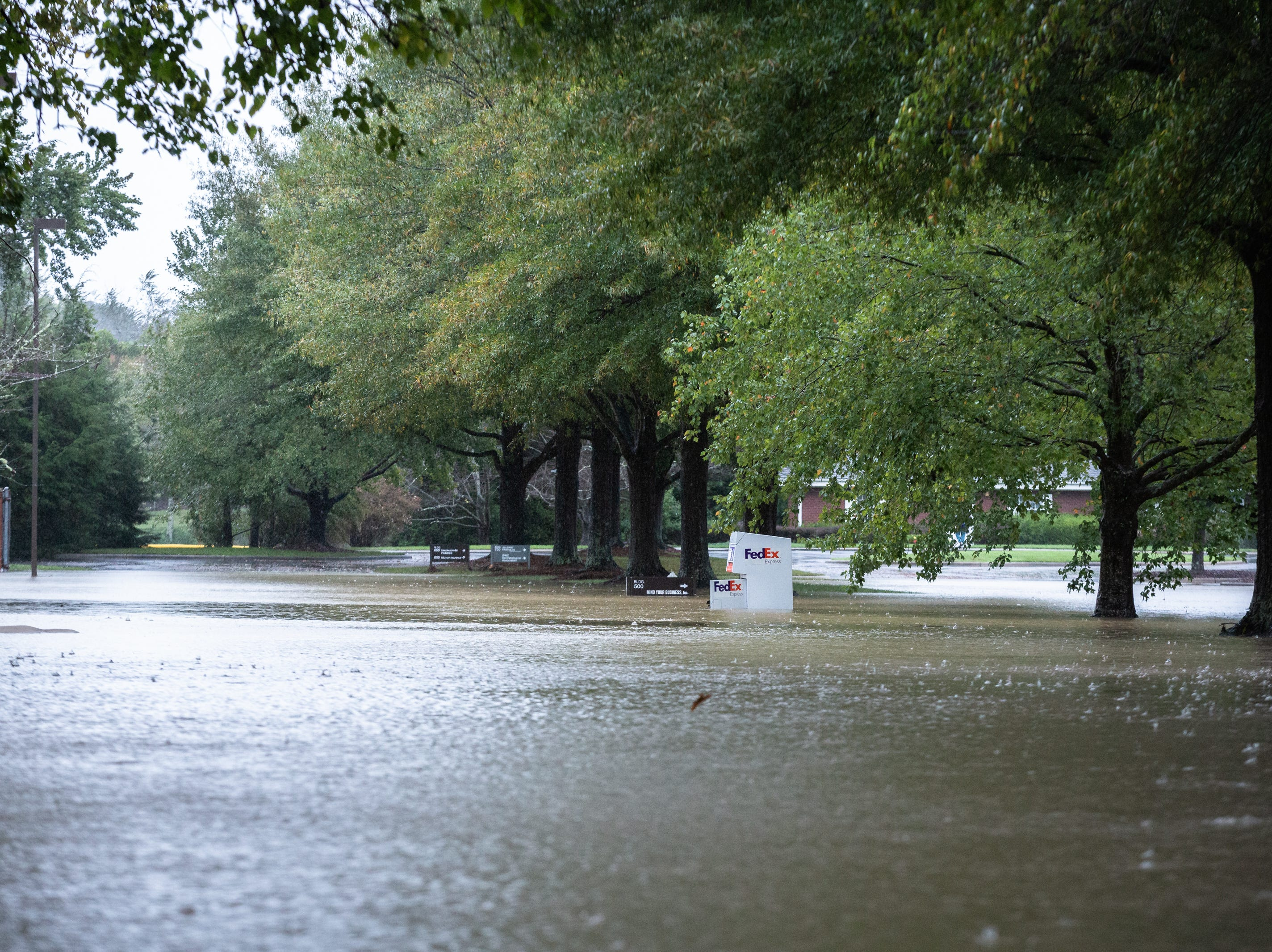 A flooded business park on Asheville Highway in Hendersonville, Oct. 11, 2018.