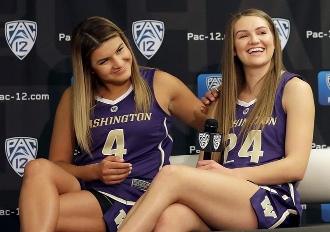 Washington's Amber Melgoza, left, and Jenna Moser listen to questions during NCAA college basketball Pac-12 media day in San Francisco on Wednesday.