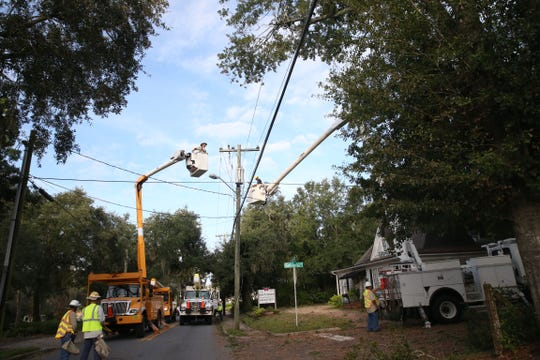 On Thursday, Oct. 11, 2018 the Leesburg Electric Line Crew work to restore power in Tallahassee after Hurricane Michael rips through the panhandle.