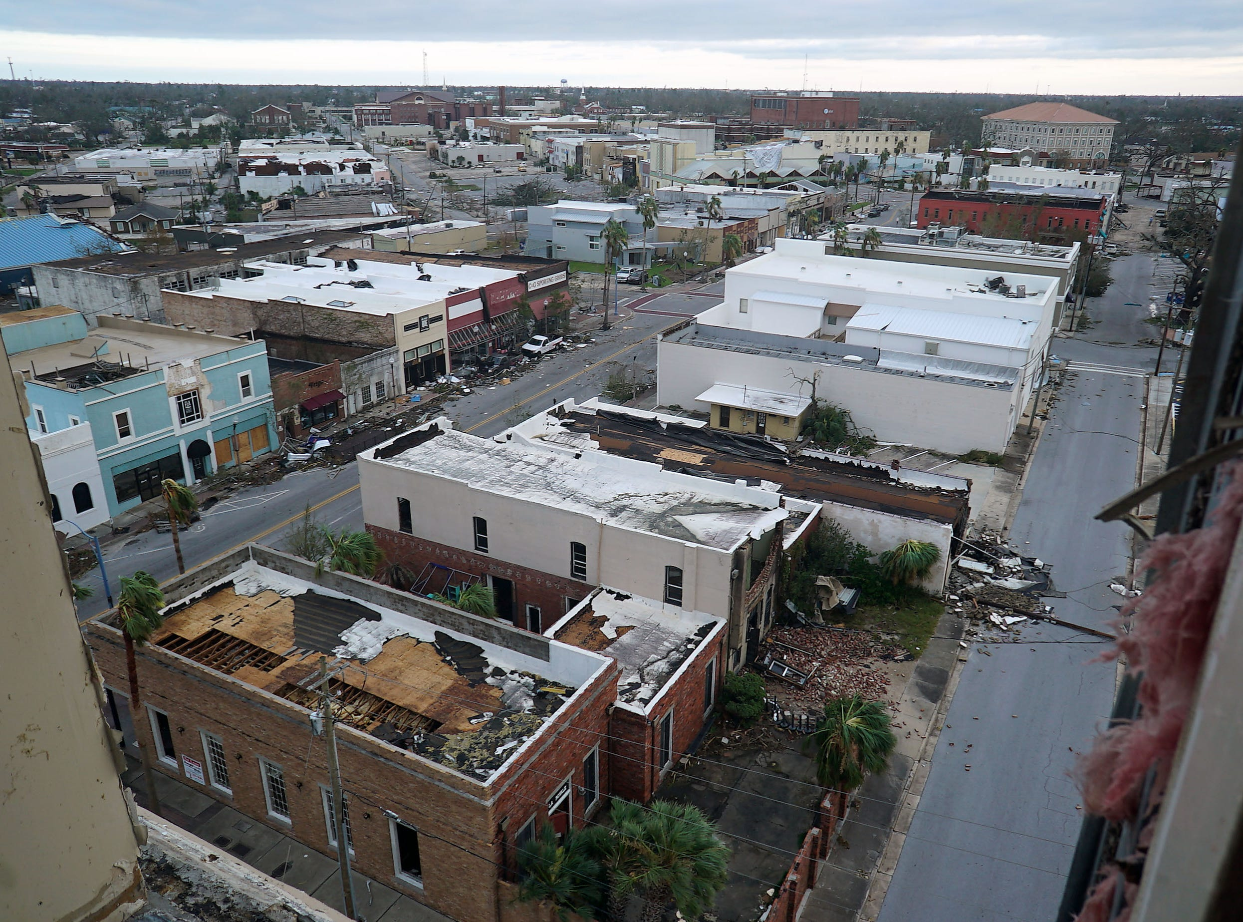 A view of Panama City from the St. Andrews apartment building, which suffered significant damage during the passage of Hurricane Michael.