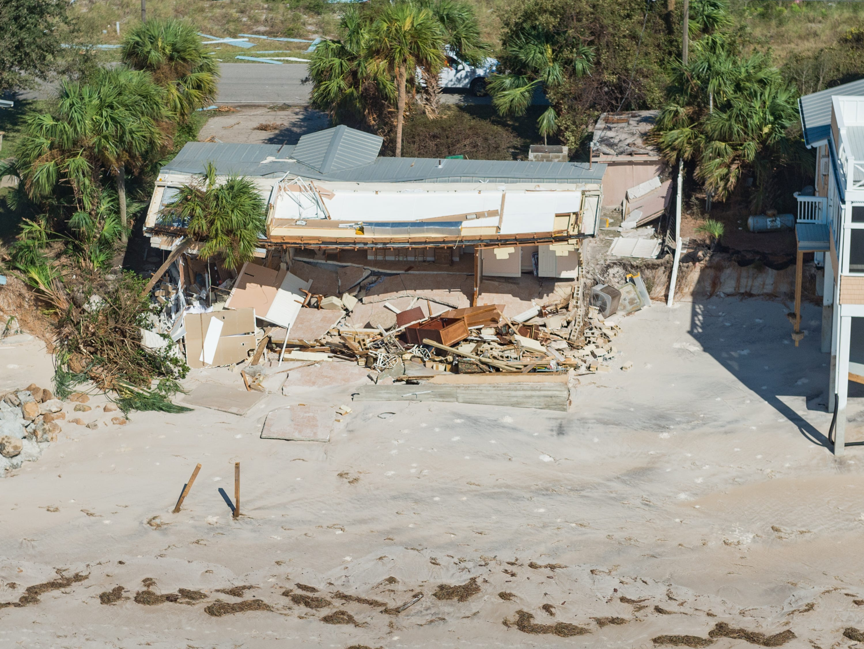 Aerial photos of the aftermath of Hurricane Michael on St Theresa Beach. Thursday, Oct. 11, 2018.
