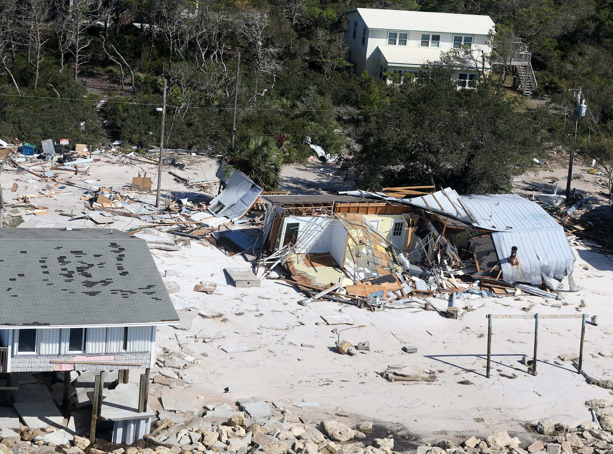 Hurricane Michael damaged several homes on Alligator Point in Franklin County, Florida. (Picture date: 10/11/18).