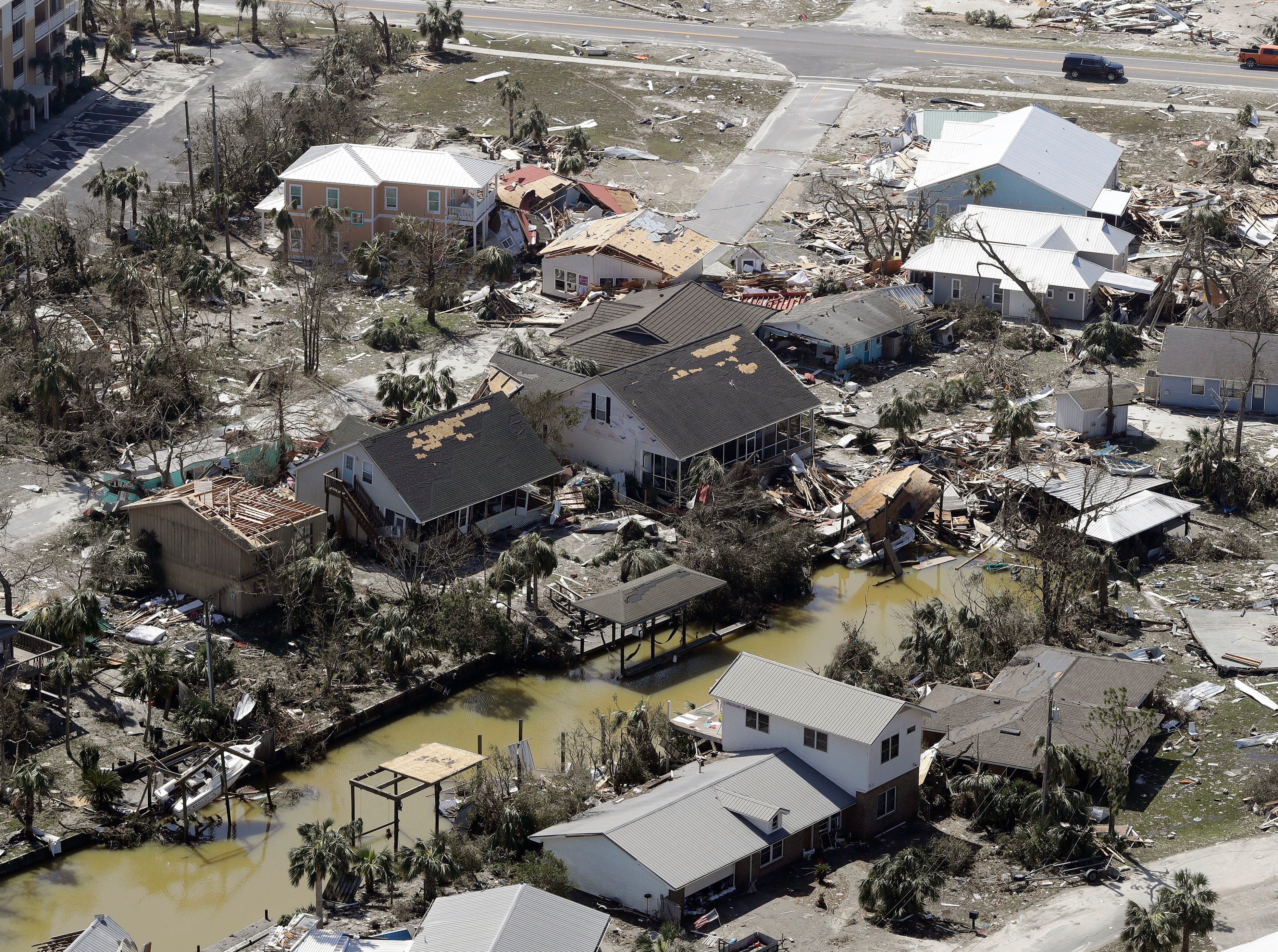 MEXICO BEACH, FL - OCTOBER 11: Debris from homes destroyed by Hurricane Michael litters the ground on October 11, 2018, in Mexico Beach, Florida. The hurricane hit the panhandle area with category 4 winds causing major damage. (Photo by Chris O'Meara-Pool/Getty Images)