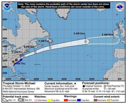 Tropical Storm Michael 8 a.m. Oct. 11, 2018