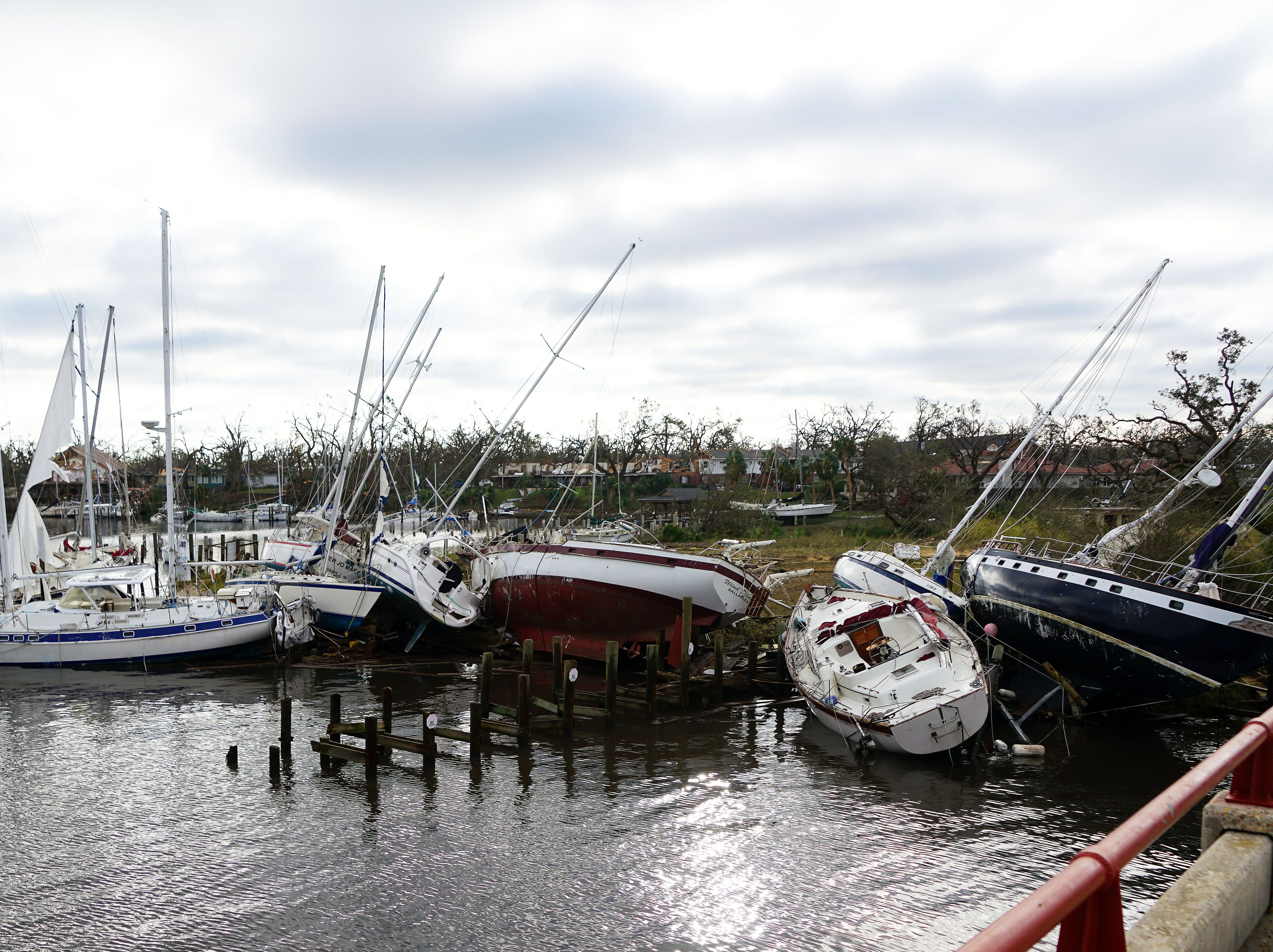 Boats piled in the harbor at Panama City, which suffered heavy winds during Hurricane Michael.