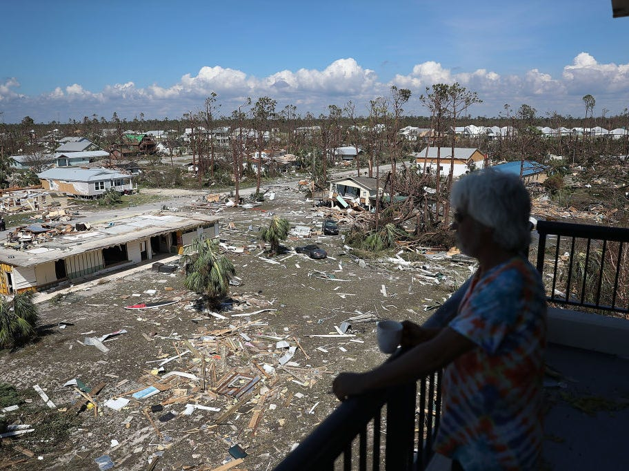 MEXICO BEACH, FL - OCTOBER 11:  Jim Bob looks out on the destruction caused as Hurricane Michael passed through the area on October 11, 2018 in Mexico Beach, Florida.  The hurricane hit the panhandle area with category 4 winds causing major damage.  (Photo by Joe Raedle/Getty Images)