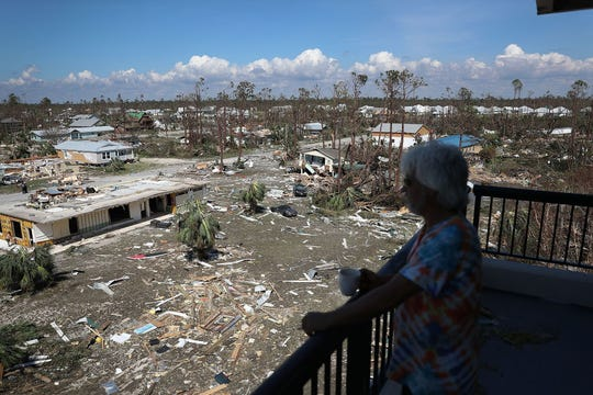 Jim Bob looks out on the destruction caused by Hurricane Michael in Mexico Beach, Florida, on Thursday, Oct. 11, 2018. The hurricane hit the Florida Panhandle on Wednesday, Oct. 10, 2018, with Category 4 winds that caused major damage.