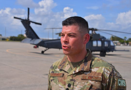 Lt. Col. Rocko Rodriguez, mission support group commander for the 920th Rescue Wing at Patrick Air Force Base, talks about the  wing, all 160 airmen, are on standby ready to go the panhandle at a moments notice.