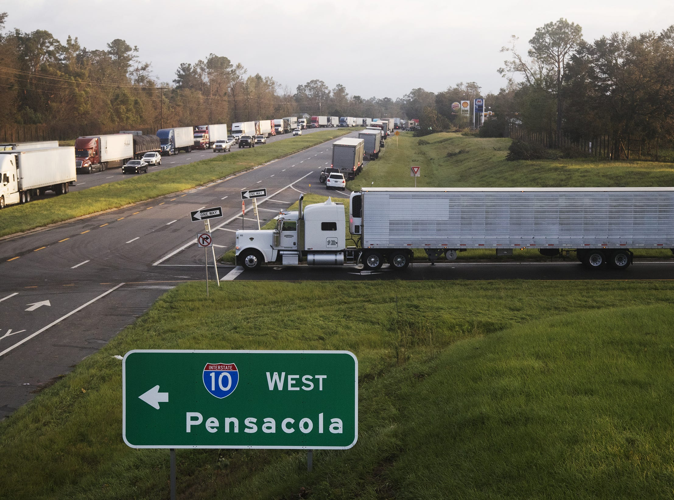 Traffic is denied access to Interstate 10 West at exit 147 in Gadsden County, Fla. Oct. 11, 2018. Downed trees and power lines from Hurricane Michael are preventing non-essential travel to Panama City using 10 West. Portions of 10 West are closed for 80 miles.