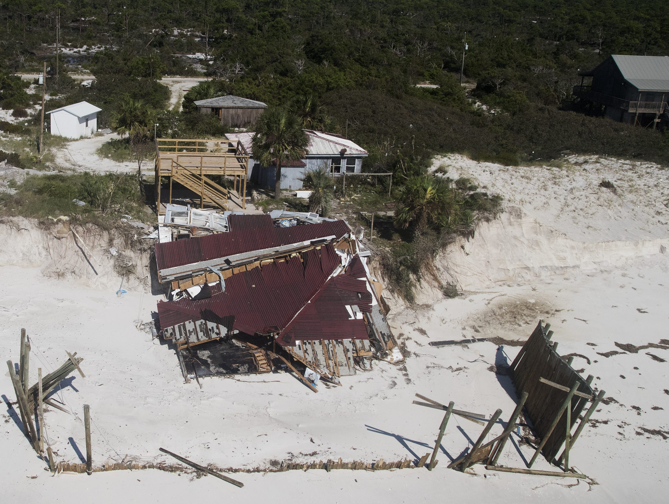 Hurricane Michael damaged several homes on Dog Island in Franklin County, Florida. (Picture date: 10/11/18).