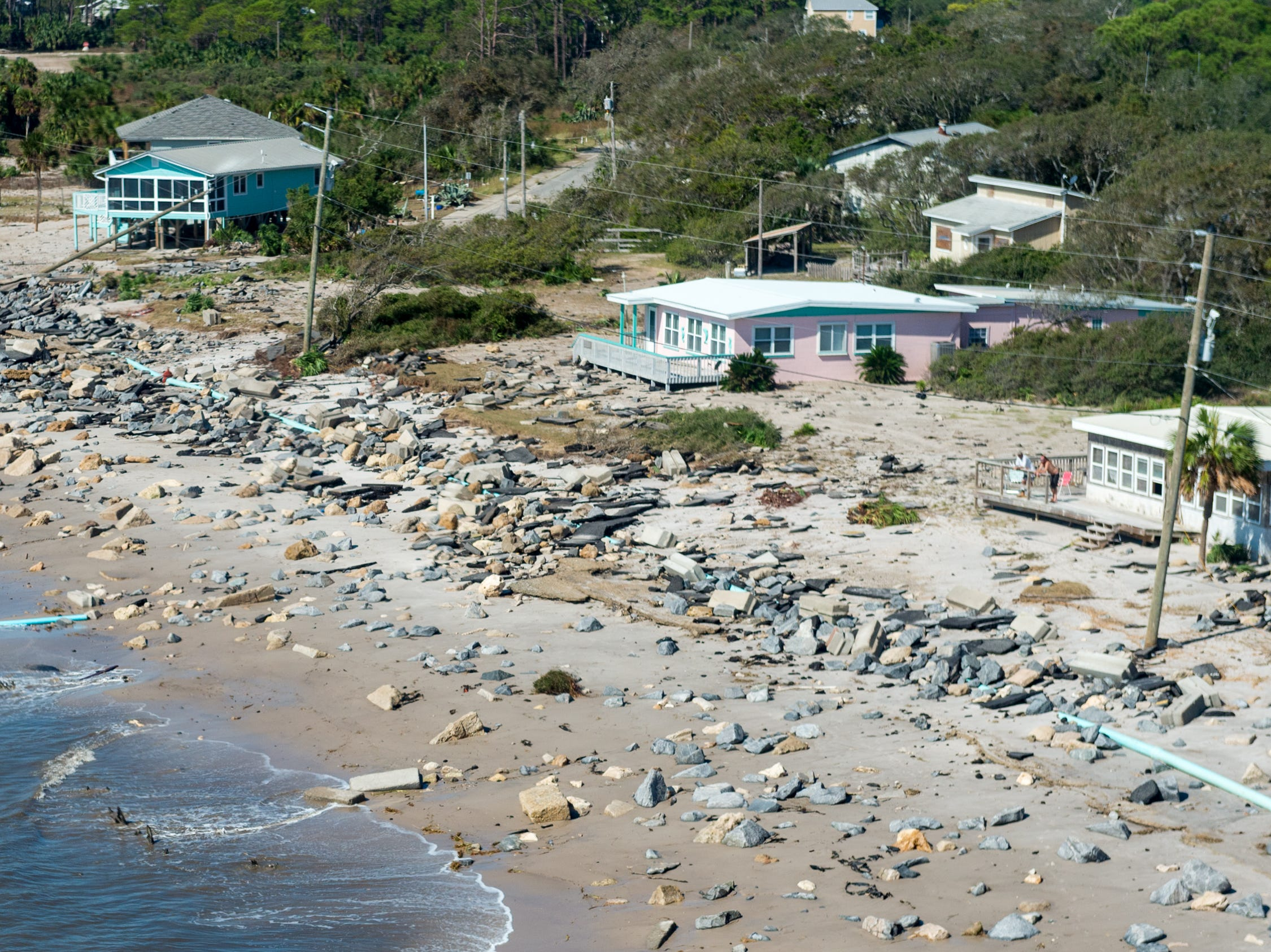 Aerial photos of the roadway destroyed by  Hurricane Michael on St Theresa Beach. Thursday, Oct. 11, 2018.