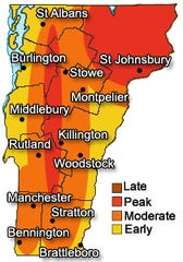A map of Vermont shows approximate foliage conditions for Oct. 11, 2018. Local soil, moisture and wind conditions result in variations within each color band (lightest = latest to peak).
