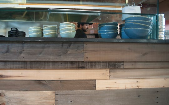 The counter of Roots Cafe in Maple Shade was created from repurposed wood pallets. The restaurant is undergoing finishing touch renovations, and is expected to have its soft opening on Oct. 19.