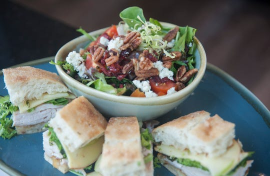 The Roots Cafe salad and a roasted turkey sandwich are displayed at Roots Cafe, a farm-to-table breakfast and lunch spot in Maple Shade that is expected to have its soft opening on Oct. 19.