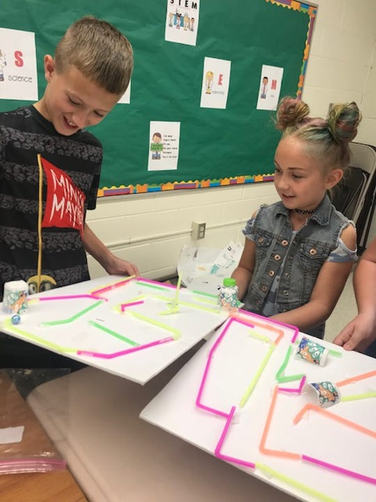 Students from Zane Trace, Huntington, and Paint Valley participated in a STEM program through Ross County 4-H to build a 3D maze using straws and other materials
