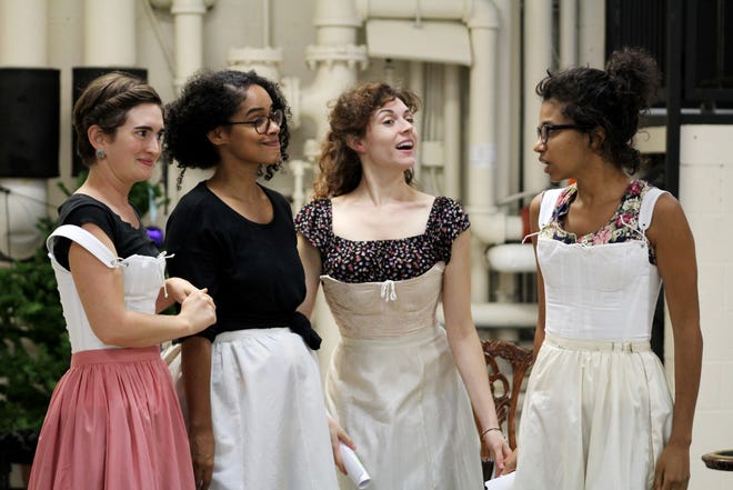 "Four of the Bennet sisters from Jane Austen's ""Pride and Prejudice"" reappear in a sequel called ""Miss Bennet: Christmas at Pemberley,"" written by Lauren Gunderson and Margot Melcon. Seen here are, from left, Lydia (Mia Hutchinson-Shaw), Jane (Maribel Martinez), Elizabeth (Marina Shay) and Mary (Ayana Workman). The show runs Oct. 18-Nov. 10 in the Playhouse in the Park's Marx Theatre, with previews beginning Oct. 13."