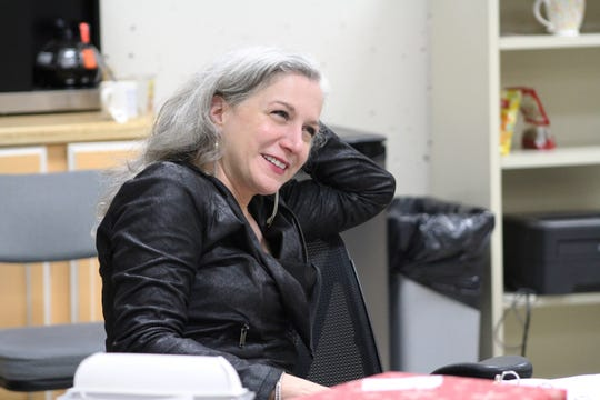 """Eleanor Holdridge is the director of the Playhouse in the Park's production of """"Miss Bennet: Christmas at Pemberley,"""" a sequel to Jane Austen's """"Pride and Prejudice."""" She is seen here during a recent rehearsal."""