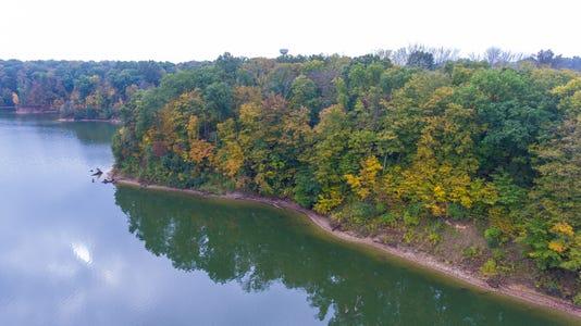 Caesar Creek Aerial Fall Color