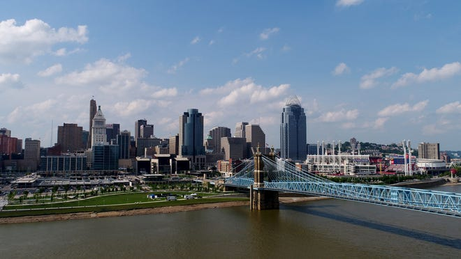 The Cincinnati skyline and Ohio River as seen on Wednesday, July 12, 2017.