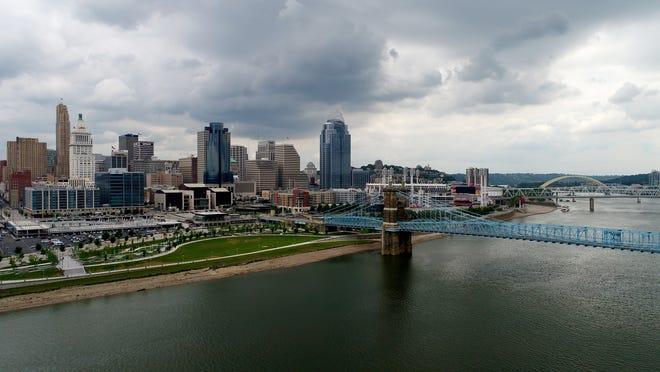 The Cincinnati skyline and Ohio River as seen on Tuesday, June 13, 2017.