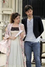 "Marina Shay (Elizabeth Darcy, left) and John Keabler (Fitzwilliam Darcy) are seen in a rehearsal for the Playhouse in the Park's production of ""Miss Bennet: Christmas at Pemberley,"" a sequel to Jane Austen's ""Pride and Prejudice,"" written by Lauren Gunderson and Margot Melcon."