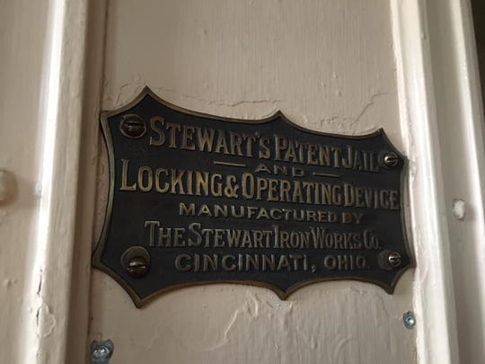 A closeup of a new brass Stewart Iron Works patent plate installed Oct. 1-5, 2018, at Alcatraz is an exact replica of the plates installed in 1934 when the prison opened in San Francisco.