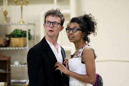 "Andrew Fallaize (Arthur de Bourgh, left) and Ayana Workman (Mary Bennet) are seen here in a rehearsal for the Playhouse in the Park's production of ""Miss Bennet: Christmas at Pemberley,"" a sequel to Jane Austen's ""Pride and Prejudice."""