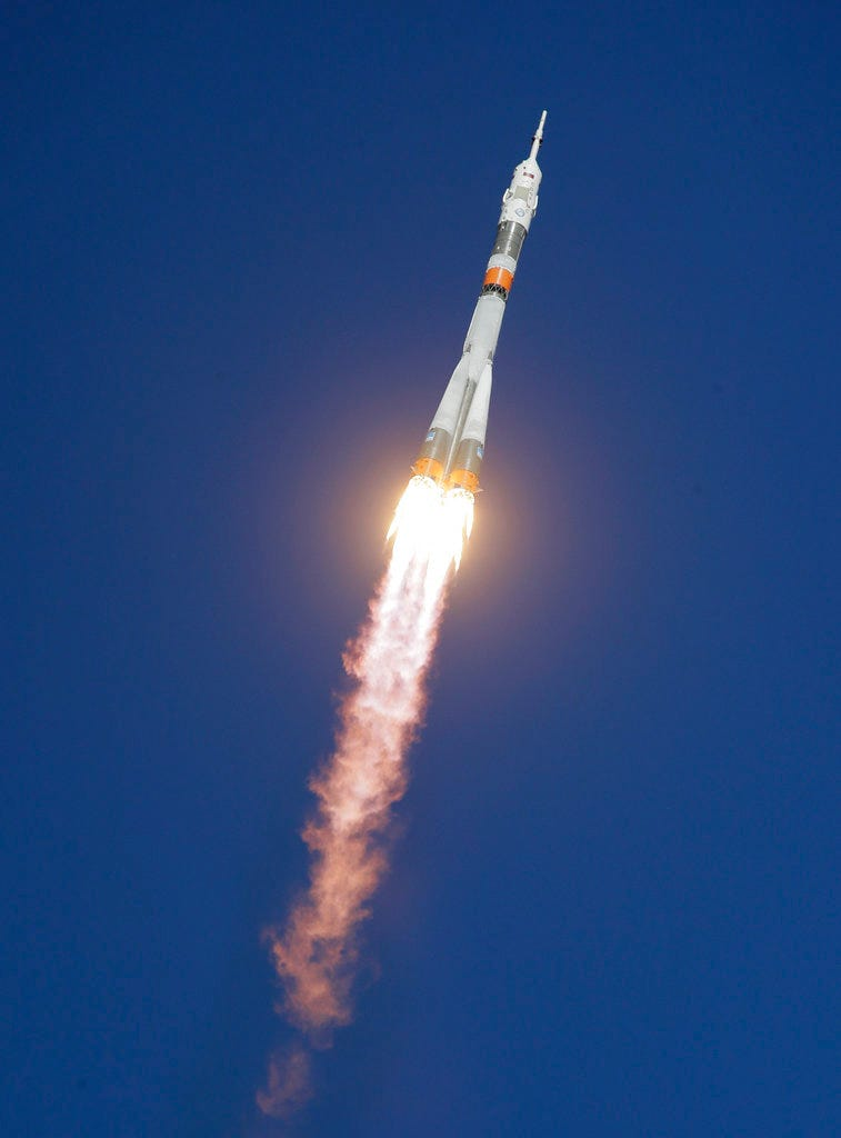 The Soyuz-FG rocket booster with Soyuz MS-10 space ship carrying a new crew to the International Space Station, ISS, flies in the sky at the Russian leased Baikonur cosmodrome, Kazakhstan, Thursday, Oct. 11, 2018. The Russian rocket carries U.S. astronaut Nick Hague and Russian cosmonaut Alexey Ovchinin. The two astronauts are making an emergency landing after a Russian booster rocket carrying them into orbit to the International Space Station has failed after launch. (AP Photo/Dmitri Lovetsky)