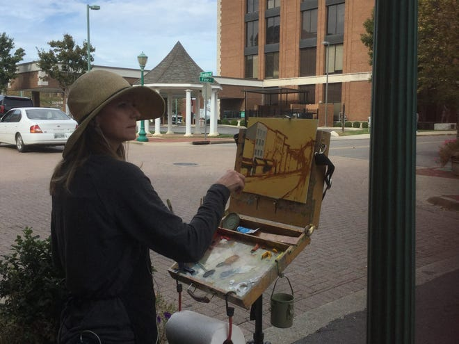 """Tiffany Foss, a plein air artist from Franklin, took first place in last year's 2Rivers Paint Out competition with her oil painting of """"Franklin Street Blooms."""""""