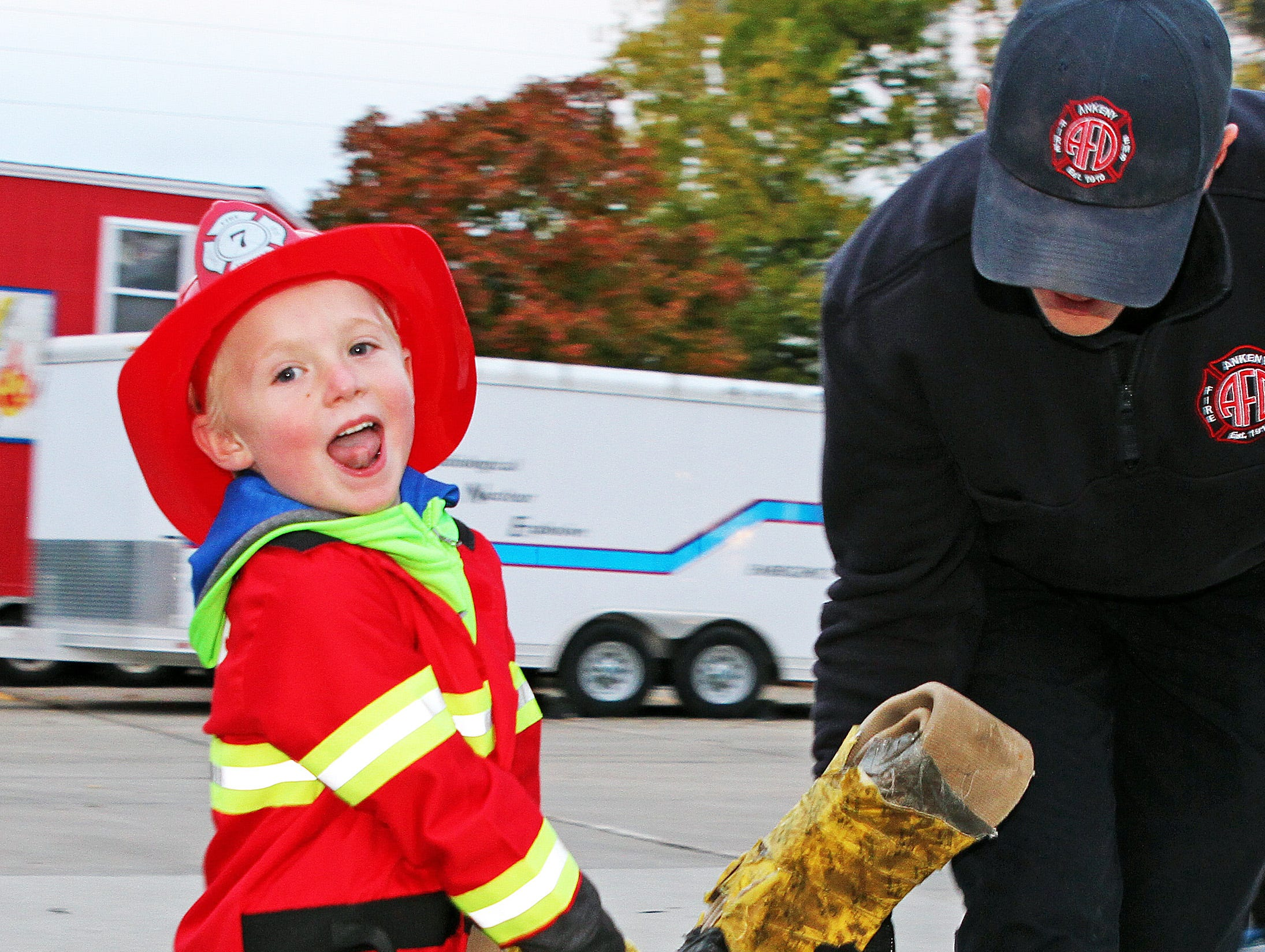 Lincoln Howard, 5, of Ankeny enjoys the Kids' Firefighter Challenge during the Ankeny Fire Department's Fire Prevention Week Open House on Wednesday, Oct. 10, 2018 at Fire Station #1, 120 N.W. Ash Dr in Ankeny. The Open House includes a variety of educational, family-oriented hands-on activities for all ages. Residents can learn more about the power of fire prevention and technologies available to protect their own families from fire.