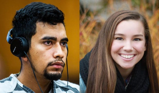 Left: Cristhian Bahena Rivera, 24, listens during his arraignment Wednesday, Sept. 19, 2018, at the Poweshiek County Courthouse in Montezuma. Right: Mollie Tibbetts can be seen in a photograph provided by her family.