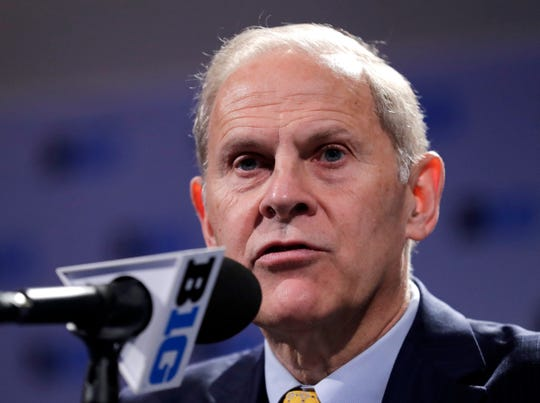 Michigan coach John Beilein speaks at a news conference during the Big Ten media day on Thursday, Oct. 11, 2018, in Rosemont, Ill.