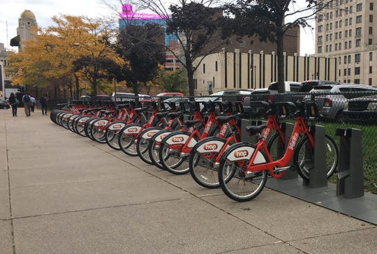 There is no shortage of available MoGo bikes in downtown Detroit on Wed., Oct. 10, 2018.