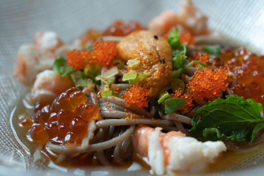 Soba noodles, shrimp, uni, ikura, tobiko and dashi from Adachi in Birmingham. The dish will also be on the menu at Michael Schlow's dinner October 24 at Frame in Hazel Park.