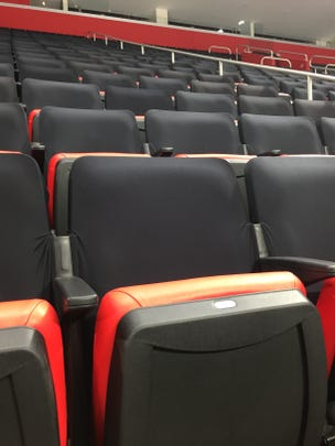 A look at the black seat covers at Little Caesars Arena during the Detroit Red Wings' morning skate on Thursday, Oct. 11, 2018.