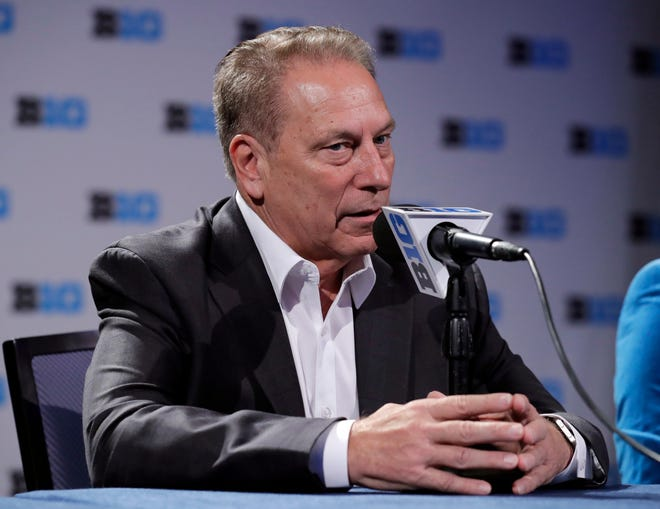 Michigan State head coach Tom Izzo speaks during a press conference Thursday during Big Ten media day in Rosemont, Ill.