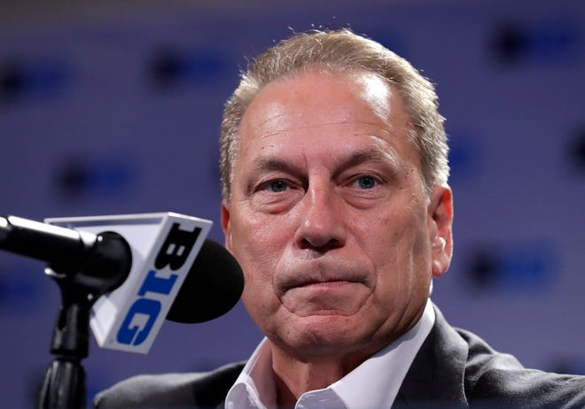 Michigan State head basketball coach Tom Izzo listens to a question at a news conference Thursday during Big Ten  media day in Rosemont, Ill.