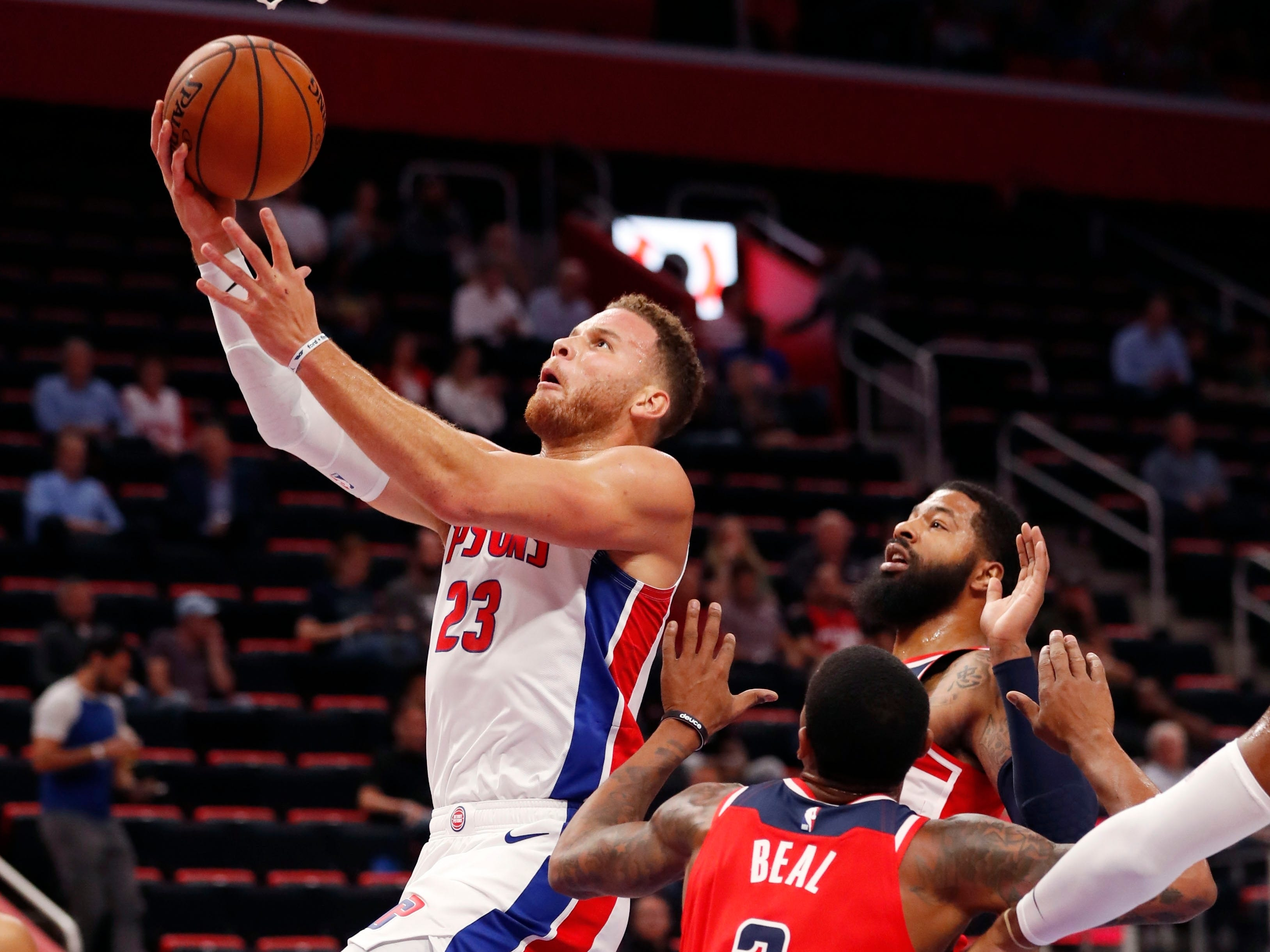 Detroit Pistons forward Blake Griffin (23) makes a layup during the first half.