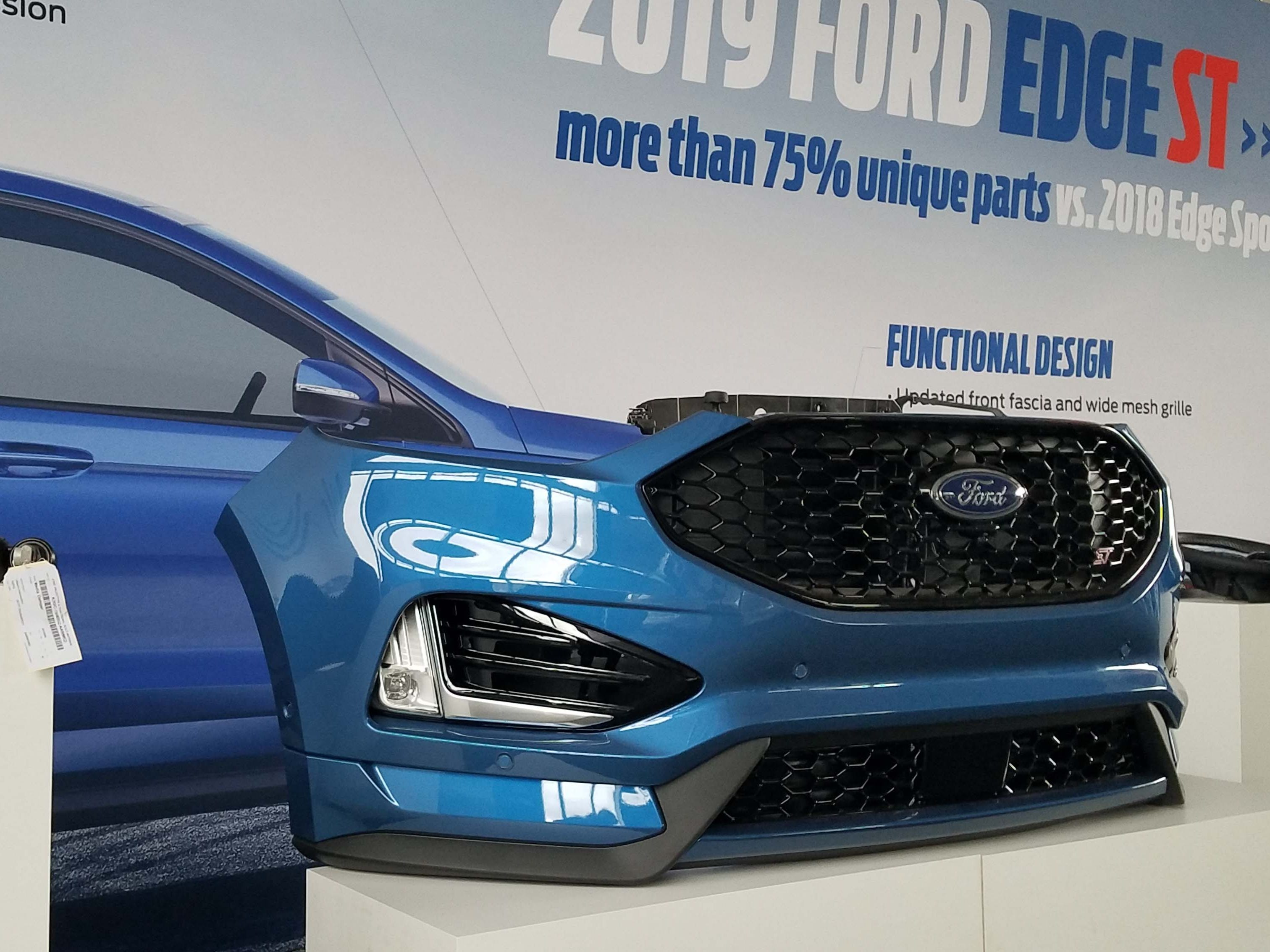 New face: The 2019 Ford Edge ST has a unique front clip.