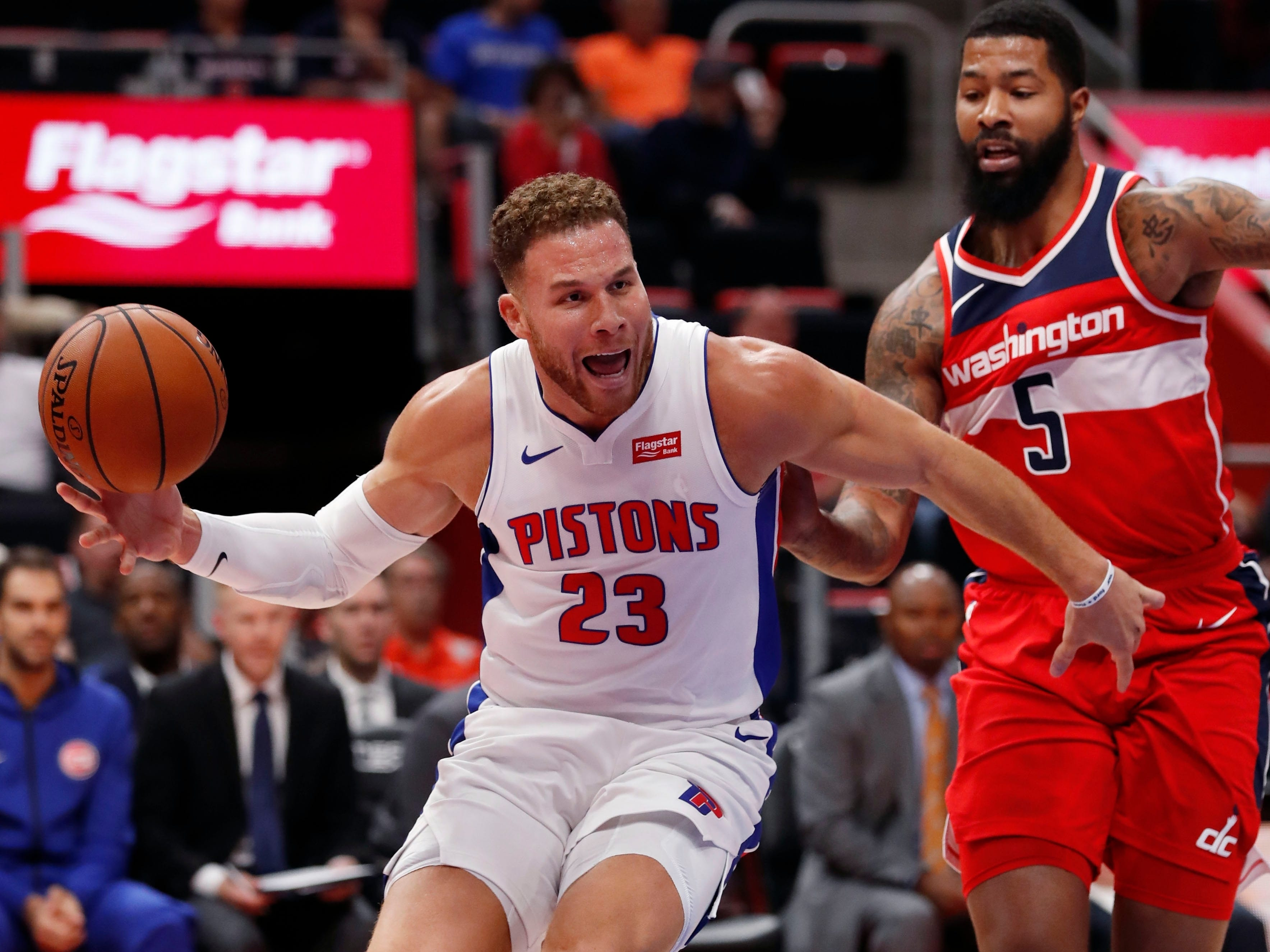Detroit Pistons forward Blake Griffin (23), defended by Washington Wizards forward Markieff Morris (5), loses control of the ball during the first half.