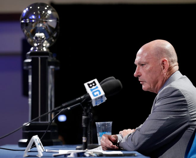 Jim Delany speaks at Big Ten media day on Thursday.