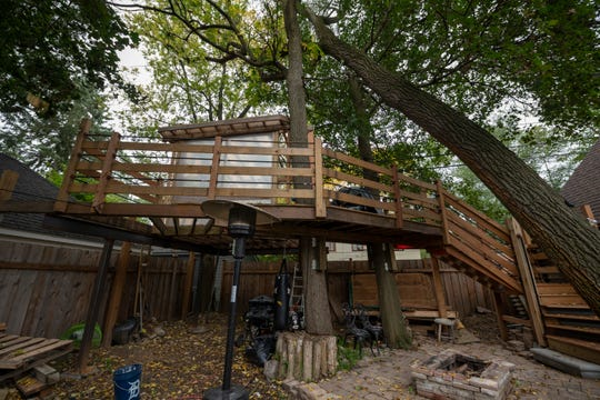 This is the backyard treehouse owned by Tamar Boyadjian and her fiance Greg Douglas at their Ann Arbor home, October 10, 2018. The family is in a battle with the city on the construction of the treehouse.