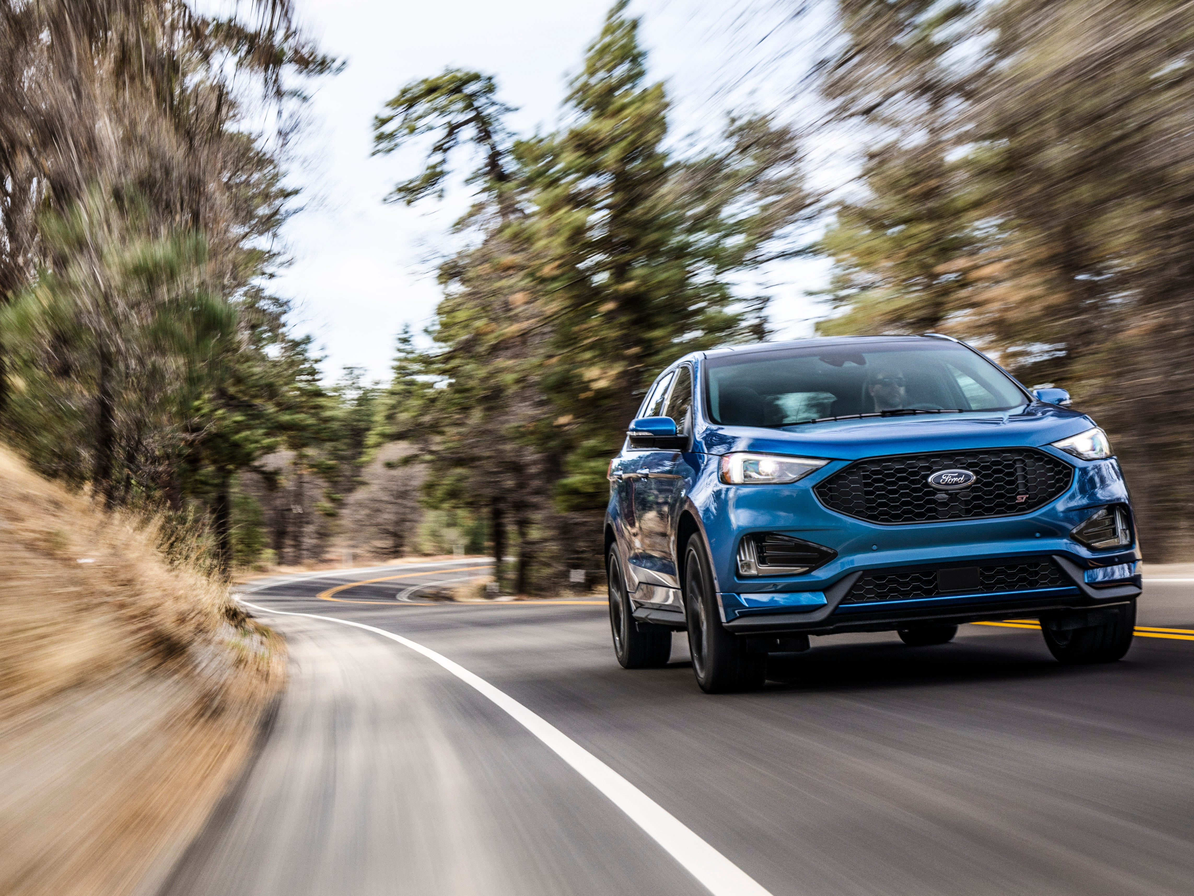 The 2019 Ford Edge ST is the first ST-badged SUV in the Ford stable. Zero-60 mph arrives in less than 6 seconds with a top speed of 130 mph for the 4,500-pound linebacker.