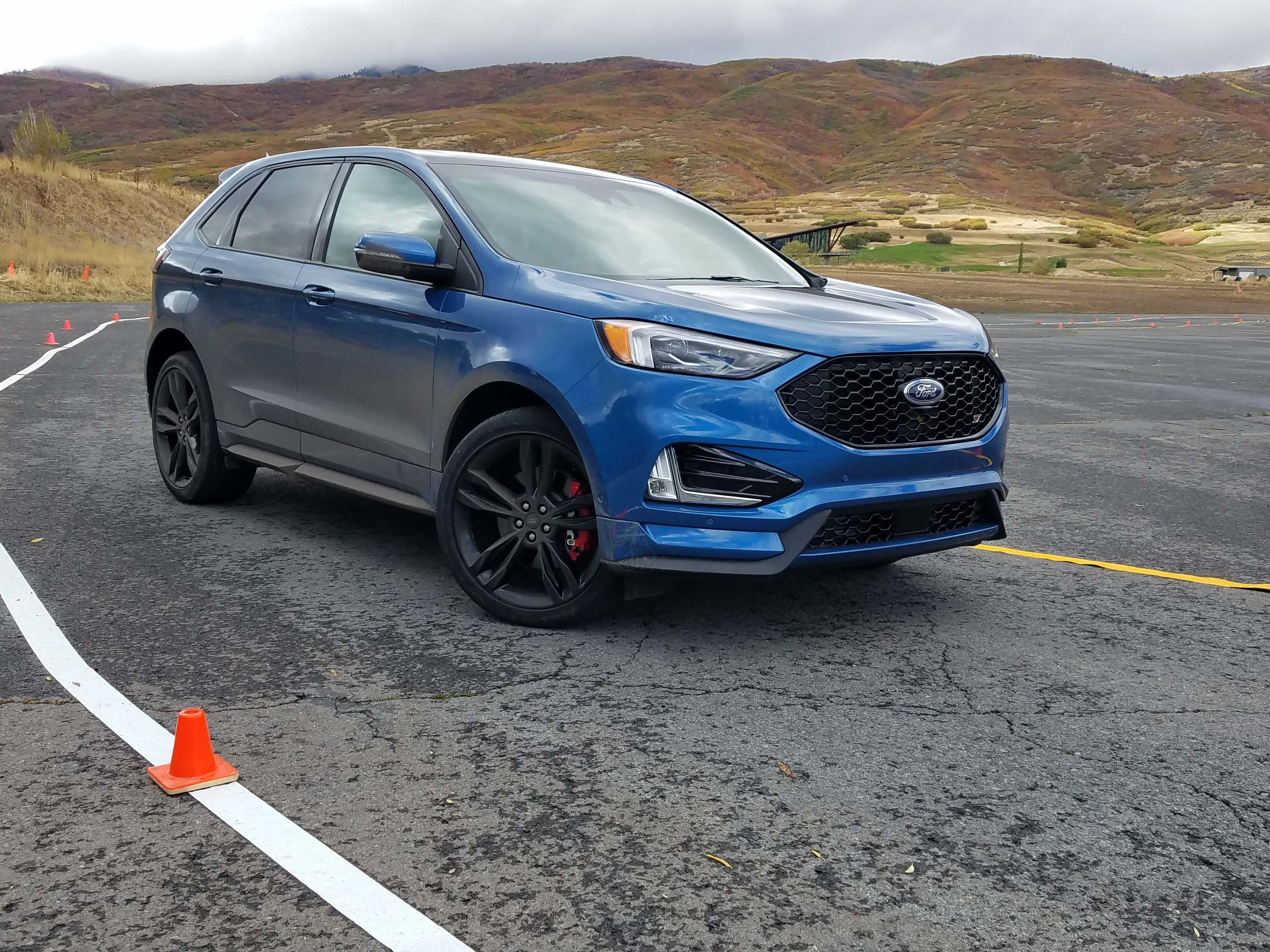 Autocrossing a Ford Edge? The 2019 Ford Edge ST is surprisingly nimble on a pylon-marked course despite its 4,477-pound girth.