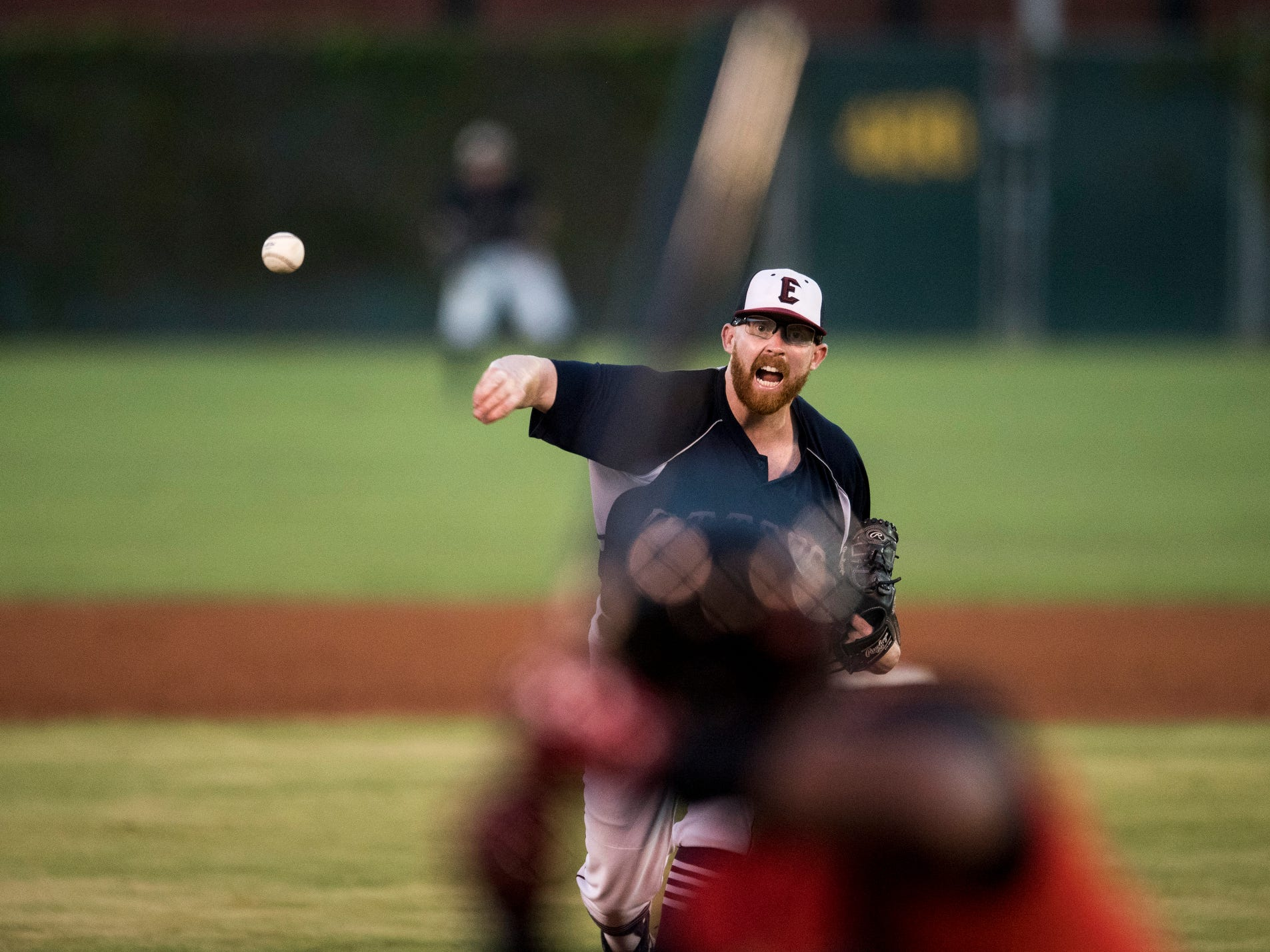 Evansville's Tyler Beardsley (46) pitches the ball during game two of the Frontier League Division Series at Bosse Field against the Washington Wild Things Wednesday, September 5, 2018.