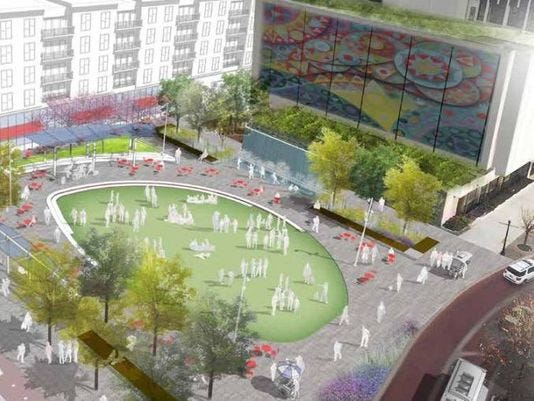 "This suggested rendering of the ""astroturf"" park at Main and Fourth streets was included in Evansville's most recent Downtown Master Plan. Mayor Lloyd Winnecke on Thursday said to expect an announcement about the park's redevelopment soon."