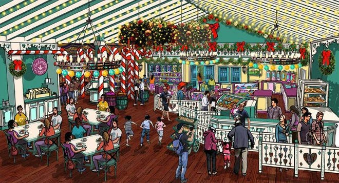 A rendering of Santa's Merry Marketplace, a planned new addition at Holiday World for 2019.