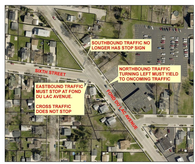 Beginning Oct. 17, traffic will stop on Sixth Street rather than southbound on Fond du Lac Avenue.