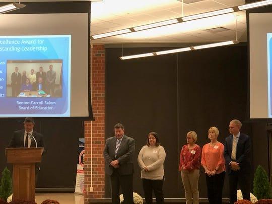 From left, Benton-Carroll-Salem Superintendent Guy Parmigian with BCS Board members Steve Rhodes, Jamie Tooman, Heather Dewitz,  Kim Dusseau, and Jeff Dornbusch.