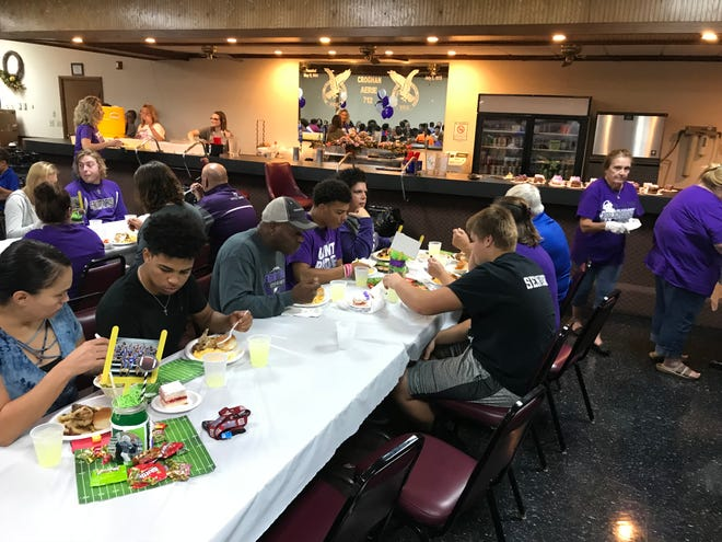 """Fremont Ross football players eat every Wednesday night during the season at the Fremont Eagles on West State Street. The Fremont Eagles are sponsoring the """"Feed the Team"""" event."""